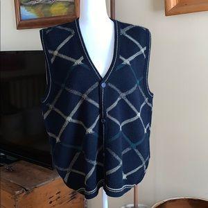 Men's JANTZEN button up sweater vest size large